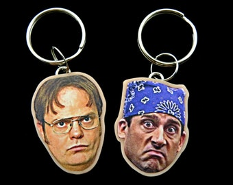 michael scott and dwight schrute keychains - the office - steven carell - rainn wilson - bff keychains - celebrity keychains