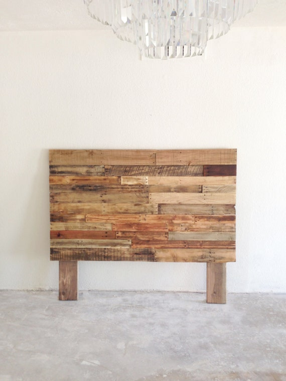 Reclaimed recycled pallet wood headboard head board by for Recycled wood board