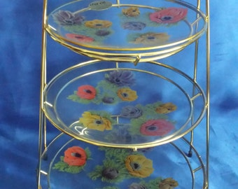 Chance Brothers Anemone Design Glass 3 Tier Cake Stand