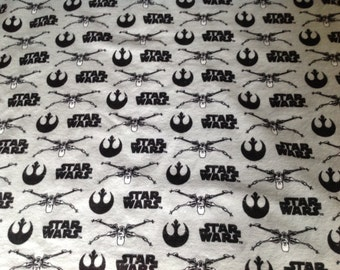 Star Wars X Wing fighter flannel and minky blanket. Grey and black big brother blanket.
