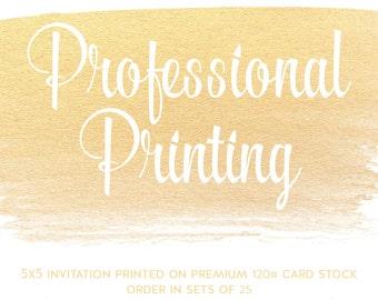 Square Invite - 5.25x5.25 - Professional Printing Services - Double Sided - ChiccDesigns Custom Invitation- Premium Cardstock 120# White