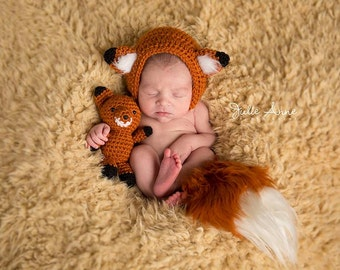 Fox hat and toy - Photography Prop - Newborn Fox hat - Stuffed Toy Fox - Animal Prop Set - Newborn Prop - Fox Bonnet Prop - Newborn Toy Fox