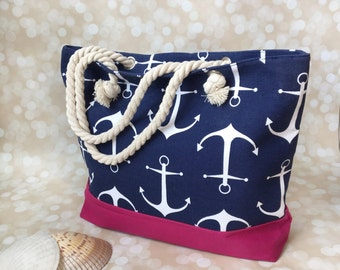 Beach Bag Tote Personalized - Monogrammed Canvas Tote Bag - Tote Bag With Zipper - Nautical Bag - Nautical Baby Shower - Nautical Baby Gift