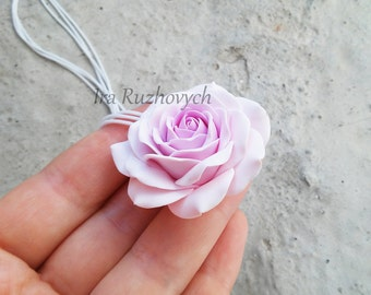 Pink Rose Necklace, Flower Pendant