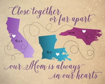 Gift For Mom Long Distance Map Mom Personalized Mother S Day Gift Mother S Day