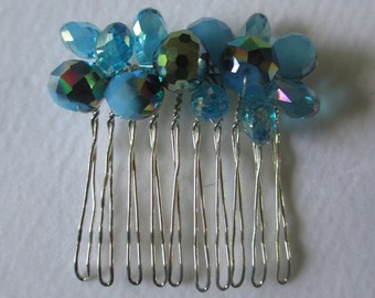 Blue shades Beaded  Hair Comb wedding prom party