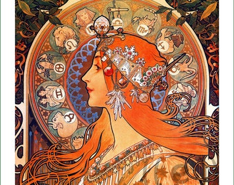 fabric panel - painting by Alphonse Mucha (19) - v.A
