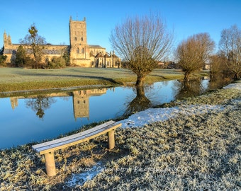 Tewkesbury Abbey on a Winter's Morning - England - United Kingdom - Landscape - Fine Art Print