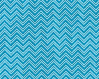 Aqua Chevron- Urban Zoo Collection by Galaxy Fabrics - 100% Cotton Fabric