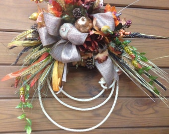 Autumn lasso wreath. Fall lariat wreath. Western home Decor, makes a great equestrian gift.