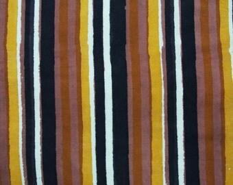 Stripe fabric, Cotton Fabric, Printed Cotton, Hand Block Print Fabric, Cotton Fabric by the yard, Indian Fabric, Block Printed Fabric