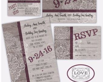 Wedding Invitation Suite Rustic Lace Design. Redneck Wedding, Invite RSVP  And Thank You Cards