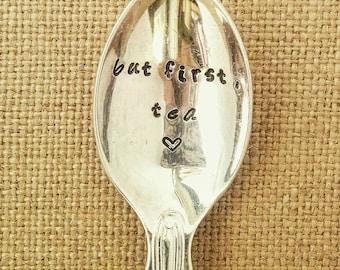 Personalised Vintage Teaspoon / But First Tea / Tea Gift / Engraved Teaspoon / Hand Stamped Cutlery
