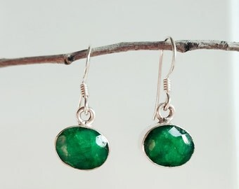 Emerald Earrings - Emerald Green Earrings - May Birthstone Earrings - Sterling Silver Emerald Jewelry - Silver Earrings