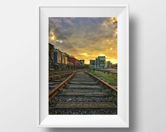 Walking the Rails / Bristol / Harbour / Sky / Golden Hour / Avon / Sunset / Evening / Summer / Railway / Tracks / Wall Art