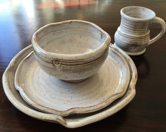 Rustic white stoneware pottery 4-piece place setting