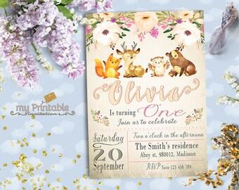 Woodland Birthday Invitation / Digital Printable Invite for Kids / first birthday Party / DIY 1st