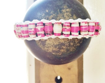Pink Recycled Magazine Beaded Bracelets