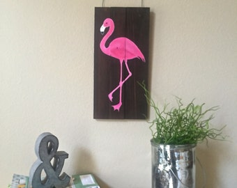 Pink Flamingo wooden sign