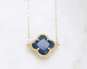 MELISSA | Navy + Gold Quatrefoil Necklace | Dainty Gold Quatrefoil Necklace | Gold Fill Necklace | Navy Blue Necklace | Gold Clover Necklace