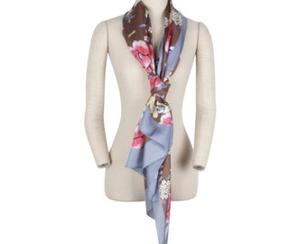Vintage 100% Silk Oriental Embroidery long scarf Oblong Silk Scarf