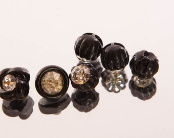 Six black and crystal buttons, tiny buttons, vintage, faceted crystal, glass, plastic surround, three designs, 10 mm, flower, round,