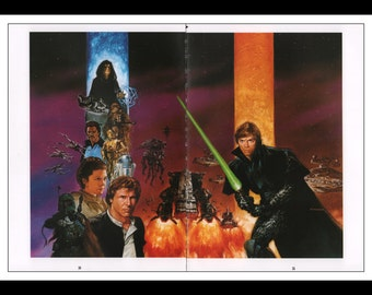 "Vintage Print Ad 1990's : Star Wars Dave Dorman Illustration - Dark Empire 2 Page Spread Wall Art Decor 8.5"" x 11"" Book Print"