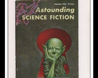 "Vintage Print Ad Sci Fi Cover : Astounding Science Fiction September 1954 Frank Kelly Freas Illustration Wall Art Decor 8.5"" x 11 3/4"""