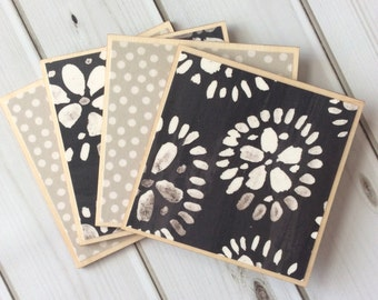 Coffee Table Decor, Black Coasters, Grey Coasters, Neutral Home Decor, Polka Dot Coaster, Floral Decor, Wooden Coasters, Geometric Coasters
