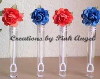 Set of 25 Coral Wedding Bubbles, Coral Send Off Bubble Wands, Coral Bubble Wand Party Favors, Bubbles with Flowers