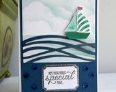 Blank sailing card with boat on the sea and heat embossed sentiment - Hope you're feeling special today