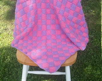 Pink and Purple baby blanket featuring entrelac