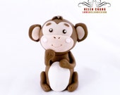 CLAY - Woodland Cake Topper - Animal Cake Topper - Birthday - Baby Shower - Party - Baby Monkey - Keepsake - Clay Topper - Clay Topper