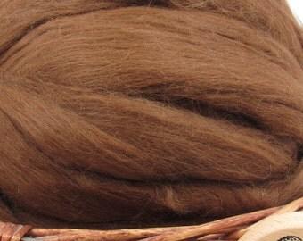 Light Brown Baby Alpaca Top - Undyed Natural Spinning Fiber/ Roving - 1oz