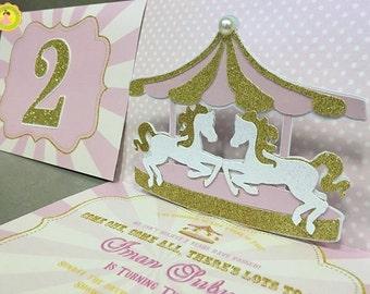 Set of 5 Carousel Handmade Invitations