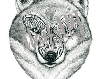 WOLF BUTTERFLY DRAWING Original Print