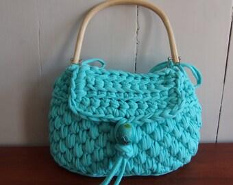 Crochet handbag  from t shirt yarn in the color sea green.