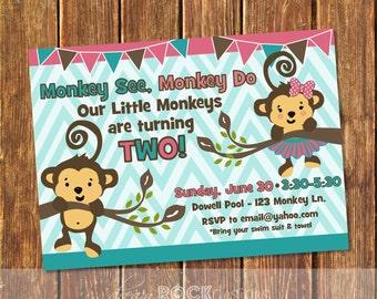 Monkey See, Monkey Do Birthday Invitation, Monkey Birthday, Monkey Invitation, Monkey Twin Invite