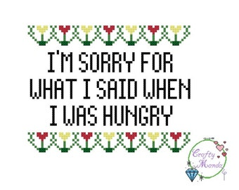 I'm Sorry, Funny Subversive Cross Stitch - PDF Cross Stitch Pattern (Kits and Completed items available)