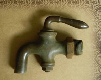 Sturdy Age Darkened Brass Antique Faucet Fixture - Brass Spigot - Brass Hose Bib - Antique Kitchen and Bath Hardware