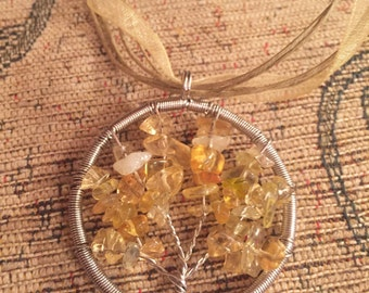 Tree of life citrine pendant on organza ribbon necklace