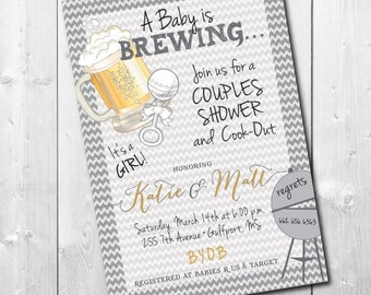 Couples Baby Shower Invitation printable/Digital File/Cookout, baby brewing, coed baby shower, girl boy baby shower/Wording can be changed