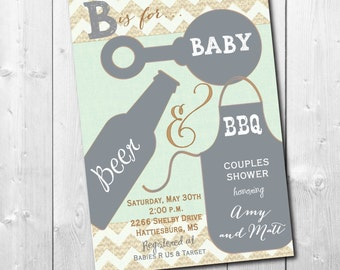 Couples Baby Shower Invitation printable/Co-ed Baby Shower Invitation/Baby Q Shower Invitation/bbq, cookout, girl, boy, beer, mint, grill