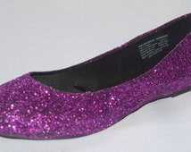 HALLOWEEN COSTUME ACCESSORY. Purple Glitter Flats in Womens and Girls Any Size Any Color Sophia the First Costume accessory