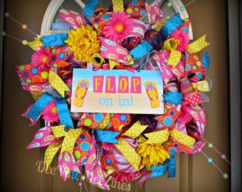 Summer Mesh Wreath, Summer Deco Mesh Wreath, Deco Mesh Wreath, Flip Flop Mesh Wreath, Summer Wreath, Mesh Wreath, Flip Flop Wreath