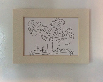 Blooming heart Tree #1 by Lucy, original ink drawing (#109)