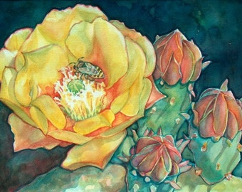Yellow Cactus Flowers Art Print/ Southwest Desert Limited Edition Giclee by Susan Faye