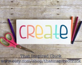 CREATE Wood Sign/Rainbow/Colorful/5.5x12/Playroom/Home Decor/Wall Art/Craft Room/Maker Mamas/Gallery Wall