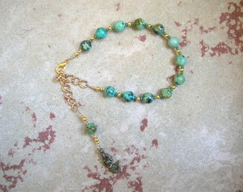 Amphitrite Prayer Bead Bracelet in African Turquoise: Greek Goddess, Queen of the Seas and Consort of Poseidon
