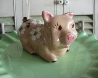 Vintage Piggy Bank, Hand Painted Ceramic, Dogwood Flowers, Cute Little Accent!